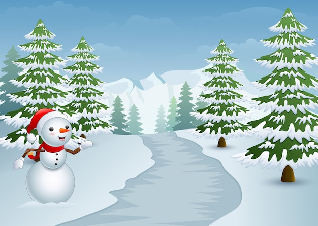 Muñeco de nieve en el lado de la carretera con cipreses nevados