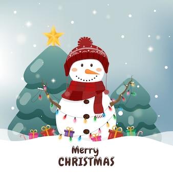 Muñeco de nieve con luces de navidad, tarjeta de felicitación de navidad.