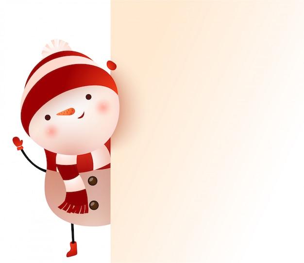 Muñeco de nieve mirando detrás de la pancarta y agitando la ilustración