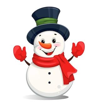 Muñeco de nieve de navidad alegre lindo