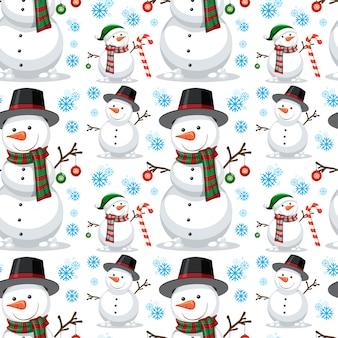 Muñeco de nieve de navidad de patrones sin fisuras