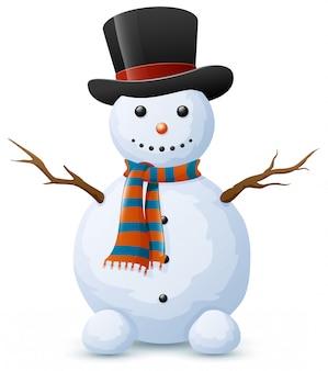 Muñeco de nieve de navidad con sombrero y bufanda