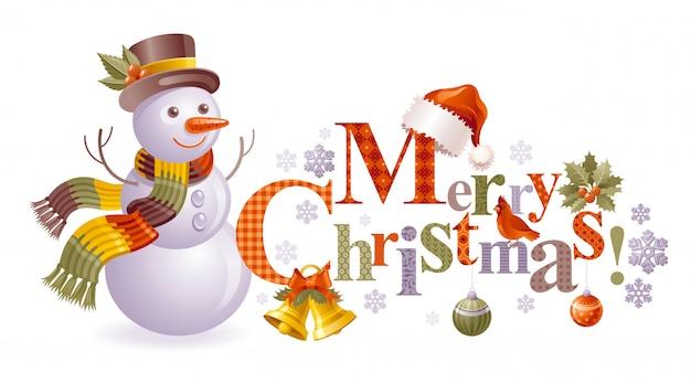 Muñeco de nieve de navidad, tarjeta de felicitación de dibujos animados con texto.