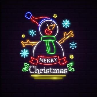 Muñeco de nieve de neón con mensaje de feliz navidad