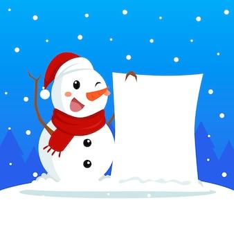 Muñeco de nieve con pancarta en blanco