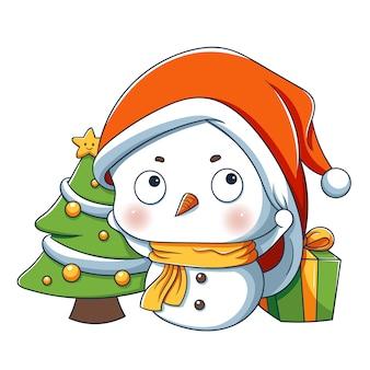 Muñeco de nieve con regalo y árbol de navidad