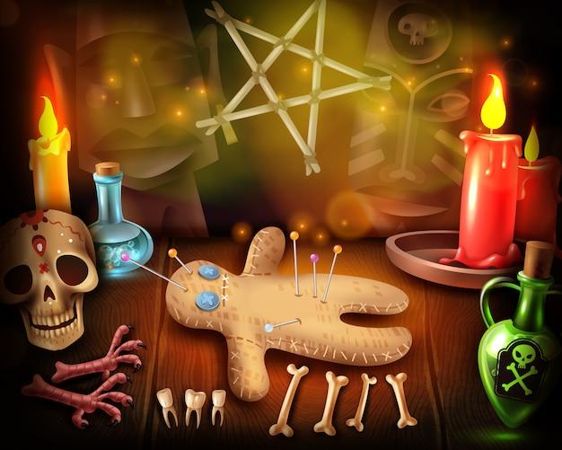 Muñeco vudú culto rituales religiosos ilustración realista con prácticas espirituales ocultas calaveras a la luz de las velas mística