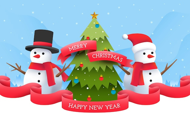 Muñecos de nieve con fondo de árbol de navidad