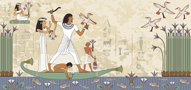 Murales con escena del antiguo egipto. jeroglífico egipcio y símbolo.