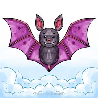Murciélago adorable de halloween en acuarela