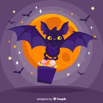 Murciélago adorable de halloween con diseño plano