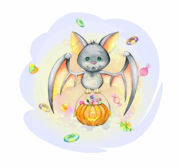 Un murciélago, al estilo de dibujos animados, con una calabaza y dulces. concepto de acuarela para halloween. para fiestas infantiles.