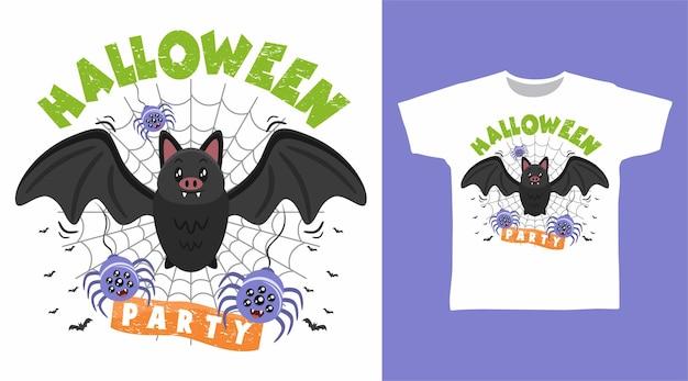 Murciélago y araña halloween para diseño de camiseta.
