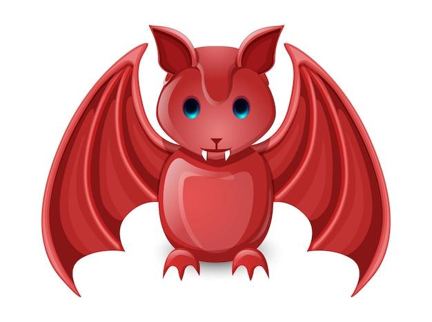 Murciélago de buena suerte rojo aislado en blanco