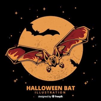 Murciélago de halloween terrorífico dibujado a mano