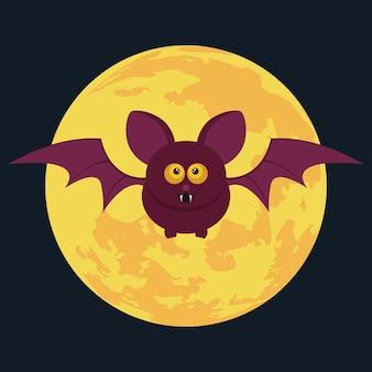 Murciélago de dibujos animados y luna llena. fondo de halloween. ilustración vectorial