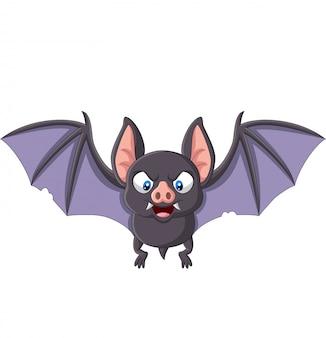 Murciélago de dibujos animados volando aislado en blanco