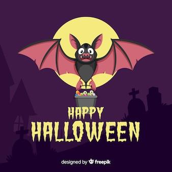 Murciélago de halloween terrorífico con diseño plano