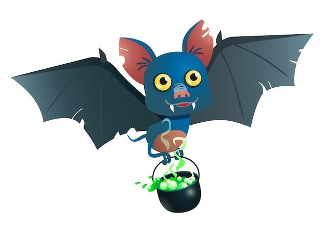 Murciélago llevando caldero con ilustración de poción