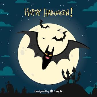 Murciélago terrorífico de halloween dibujado a mano