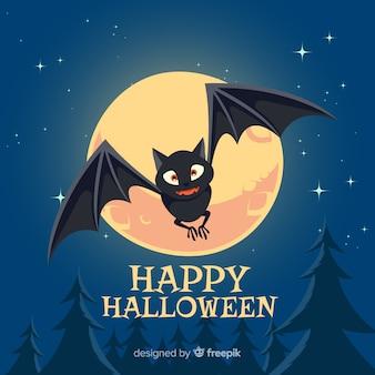 Murciélago terrorífico de halloween con diseño plano