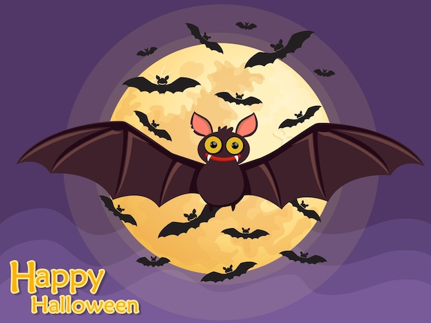 Murciélago volador de halloween en el fondo de la luna.ilustración de vector.