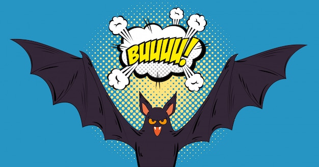 Murciélago volando halloween estilo pop art