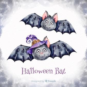 Murciélagos adorables de halloween en acuarela