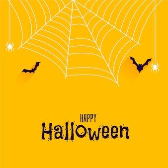Murciélagos y arañas en banner de feliz halloween