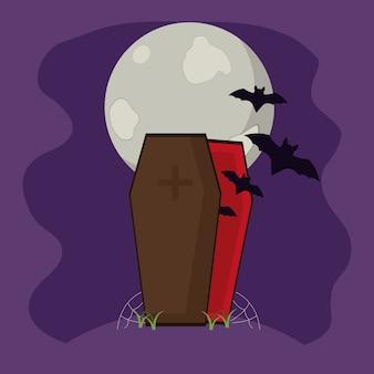 Murciélagos dentro del ataúd de vampiros con telaraña y luna