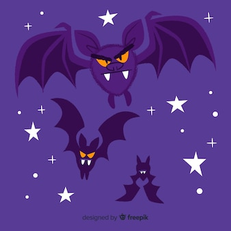Murciélagos enojados volando en la noche