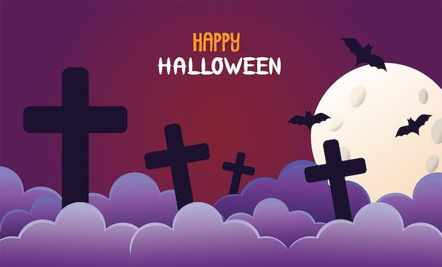Murciélagos de halloween volando y cementerio en luna.