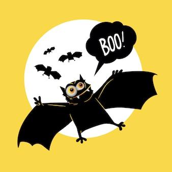 Murciélagos lindos en estilo de dibujos animados