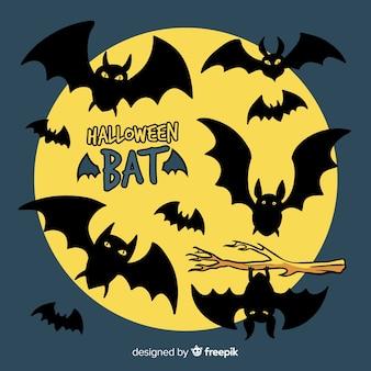 Murciélagos terroríficos de halloween dibujados a mano