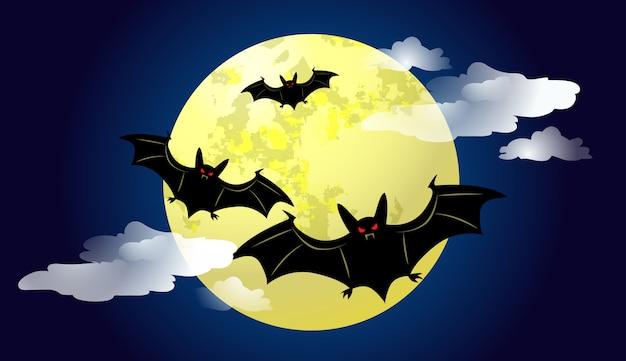 Murciélagos volando contra la luz de la luna en la ilustración de la noche