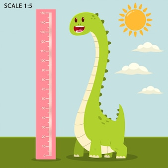 Muro medidor infantil con lindo dinosaurio y regla de medición