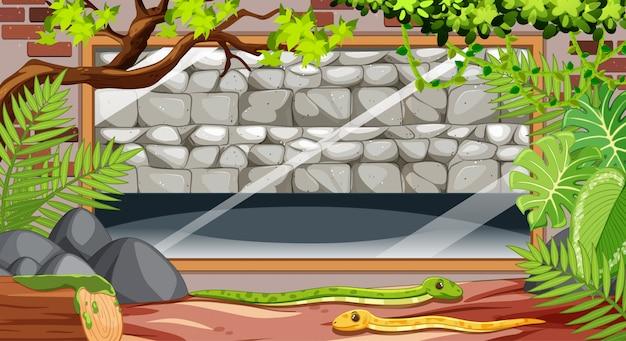 Muro de piedra en blanco en la escena del zoológico con serpientes