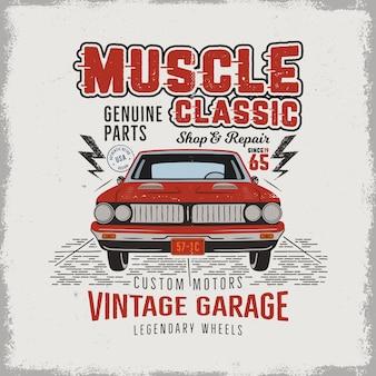 Muscle car clásico dibujado a mano vintage