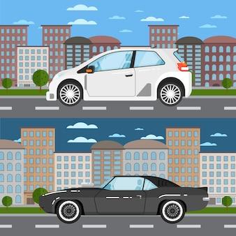 Muscle car y universal car en paisaje urbano