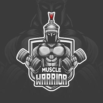 Muscle warrior esport logo icono de personaje