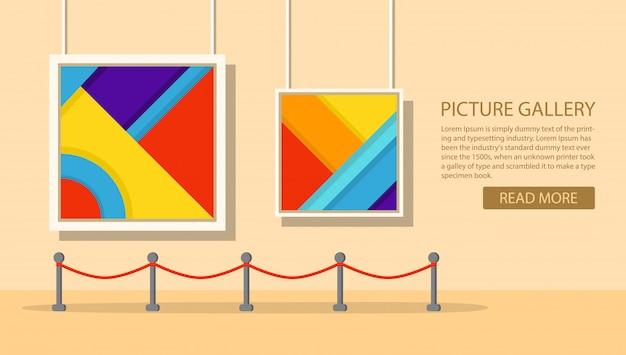 Museo de arte de la pintura moderna. interior de una exposición abstracta. galería de arte pictórico.