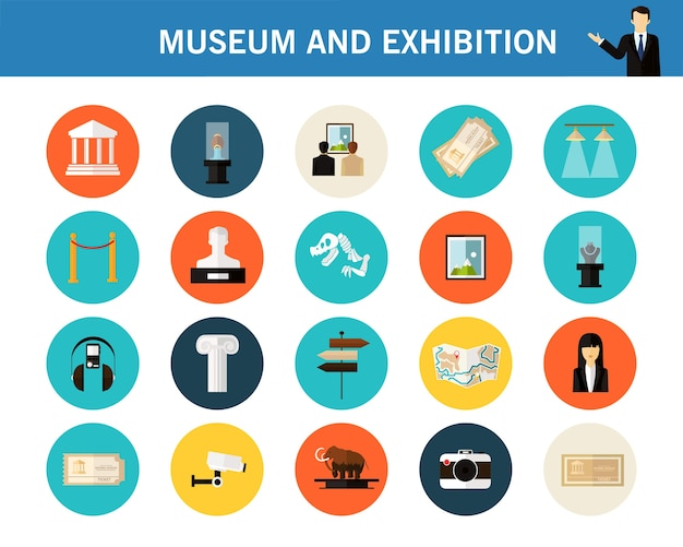 Museo y concepto de exposición iconos planos.