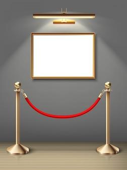 Museo de exposición de pintura en la pared en posición horizontal con foco y barrera roja. espacio en blanco para ti. piso de madera realista y luz solar.
