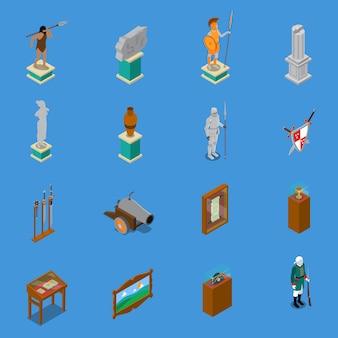 Museo isométrico conjunto de iconos