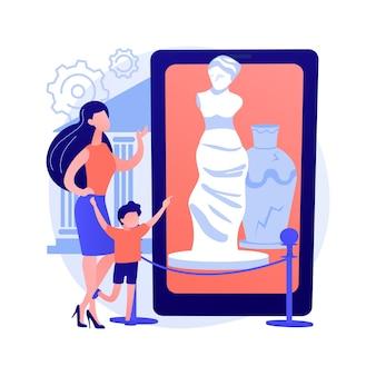 Museo en línea recorre la ilustración de vector de concepto abstracto. visita a la galería virtual gratuita, exposición en línea, distancia social, quedarse en casa, terapia artística, tiempo libre, metáfora abstracta de la audioguía.