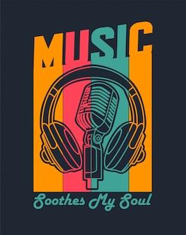 Música con auriculares y micrófono para camiseta