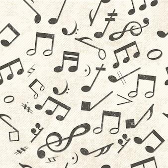 Música colorida de patrones sin fisuras notas colocadas caóticamente y clave de sol
