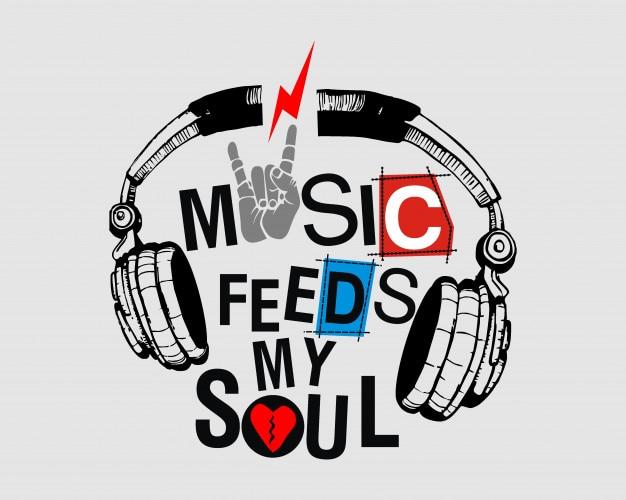 La música del diseño gráfico de la camiseta alimenta mi ilustración del vector del alma