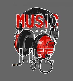 La música es el eslogan de mi vida en la ilustración gráfica de auriculares