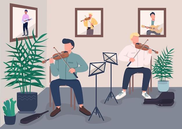 Música de estudio que reproduce color plano. grabando melodías para venderlas después. actuación de radio en vivo. talentosos personajes de dibujos animados en 2d de violonista con un estudio moderno